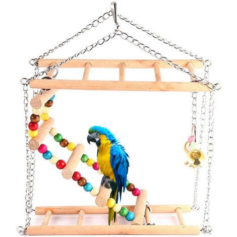 Escalera de madera Bird para colgar loros de 2 capas Puente colgante Pasos Escaleras con grano colorido y anillo de aves Campanas Escalada oscilaci¨®n peque?a jaula de loros de juguete