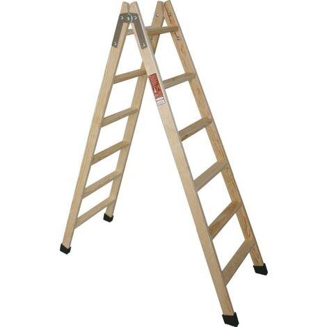Escalera de madera doble 6 peldaños