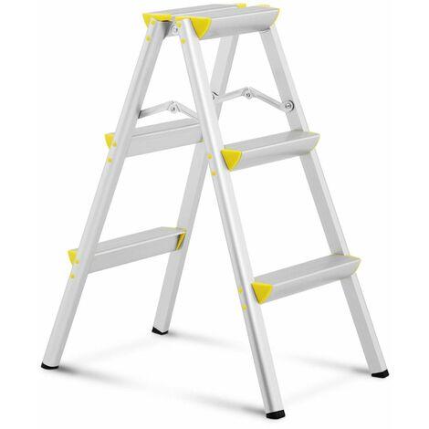 Escalera De Mano Plegable Tijera Aluminio 3 Peldańos Hasta 150 kg Altura: 75 cm