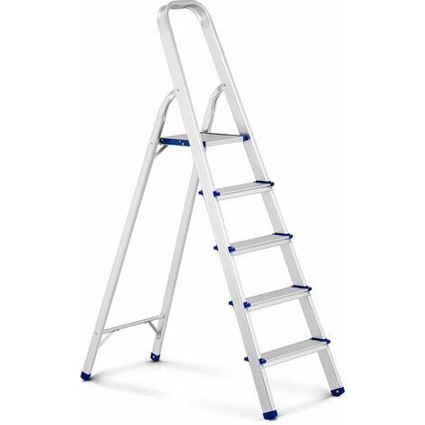 Escalera De Mano Plegable Tijera Aluminio 5 Peldańos Hasta 150 kg Altura: 100 cm
