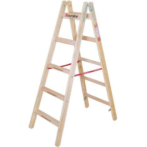 Escalera de peldaño de madera con peldaño ancho Comfort y gancho de cubo 2 x 4 peldaños