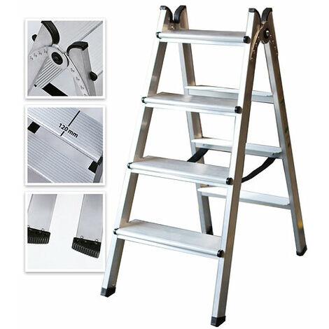 Escalera Doble Acceso de Aluminio 4 Peldaños Ancho Soldado