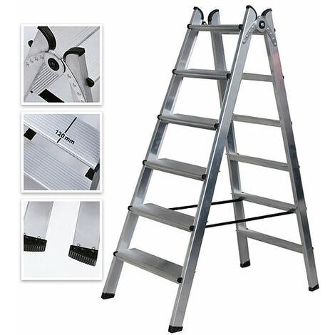 Escalera Doble Acceso de Aluminio 6 Peldaños Ancho Soldado