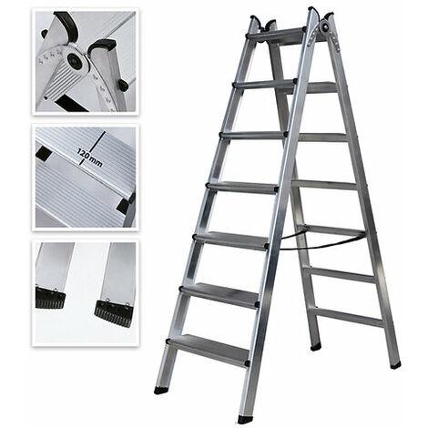 Escalera Doble Acceso de Aluminio 7 Peldaños Ancho Soldado