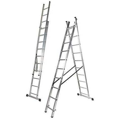 Escalera Doble Transformable, Dos Tramos de Aluminio
