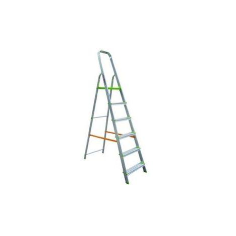 Escalera Dom Tijera 1,34mt 6 Peldaños B/baja Alu Vivahogar