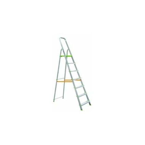 Escalera Dom Tijera 1,58mt 7 Peldaños B/baja Alu Vivahogar