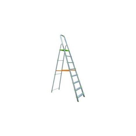 Escalera Dom Tijera 1,82mt 8 Peldaños B/baja Alu Vivahogar