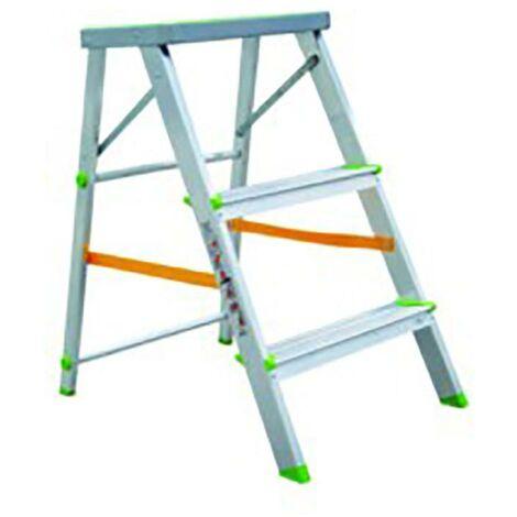 Escalera Domestica 3 Peldaños Aluminio Vivahogar