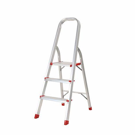 Escalera Domestica 3 Peldaños Portatil Plegable 150 Kg De Aluminio