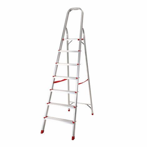 Escalera Domestica 7 Peldaños Portatil Plegable 150 Kg De Aluminio