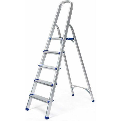 Escalera Doméstica de Aluminio Escalera Tijera de 3 Peldaños Plegable con Apoyabrazos Carga hasta 150KG