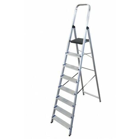 Escalera doméstica de Aluminio tijera un acceso con asa SERIE 370 8 peldaños