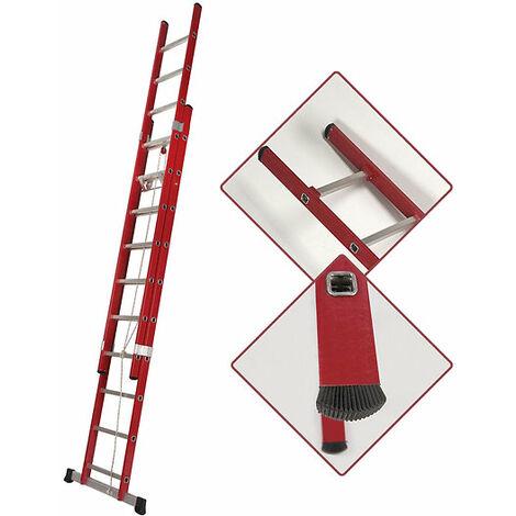 Escalera Extensible Aislante Fibra Apoyo Doble 10 Peldaños (3+3 Metros)