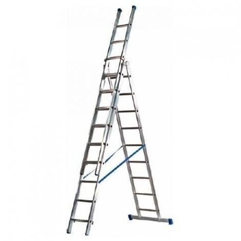 Escalera extensible aluminio MAXALL 3x14 con rodillos de fachada