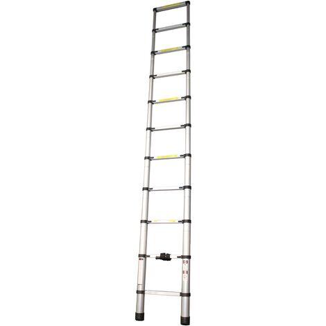 Escalera Extensible, Escalera Telescópica, Escalera Plegable, Aluminio, 10 Peldaños, 3,2m - MADER® | Hardware