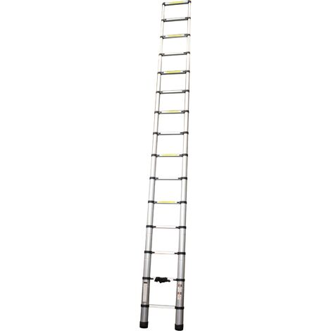 Escalera Extensible, Escalera Telescópica, Escalera Plegable, Aluminio, 14Peldaños, 4.4m - MADER® | Hardware