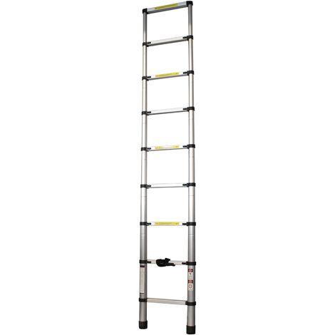 Escalera Extensible, Escalera Telescópica, Escalera Plegable, Aluminio, 8 Peldaños, 2.6m - MADER® | Hardware