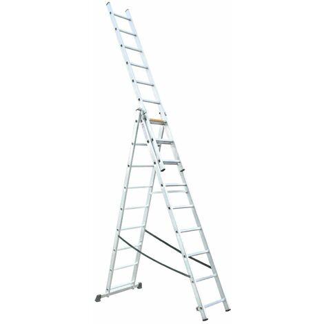 Escalera Extensible, Profesional, Aluminio, 3x10 Peldaños - MADER® | Hardware