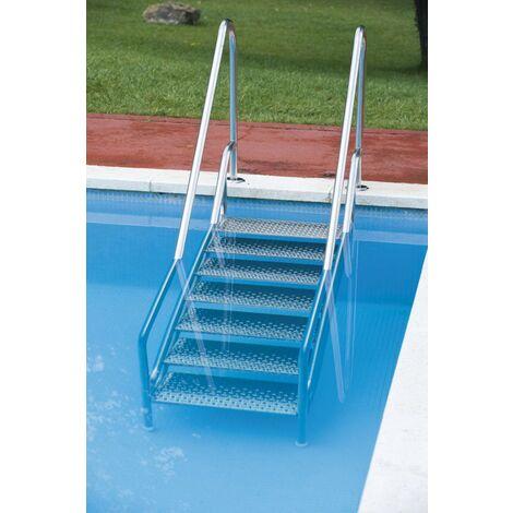 Escalera fácil acceso 5 peldaños antideslizantes FX de ancho especial. Instalación sin necesidad de obra.