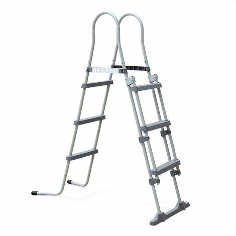 Escalera gris de 3 peldaños para piscina con una altura máxima de 109cm, accesorio para piscina - Gris