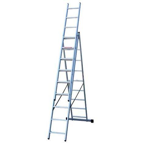 Escalera Industrial Aluminio 3 Tramos 9 PeldaÑos
