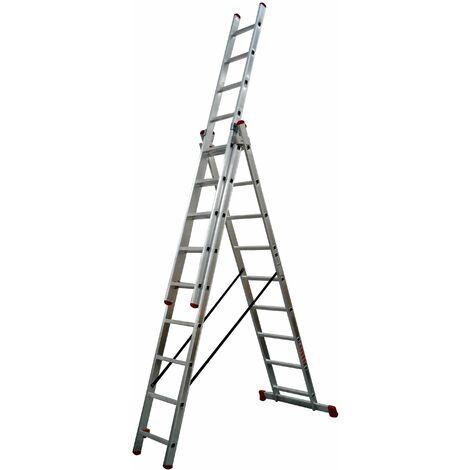 Escalera Industrial Aluminio 3x9 Peldaños 3x2,50 Mts Convert