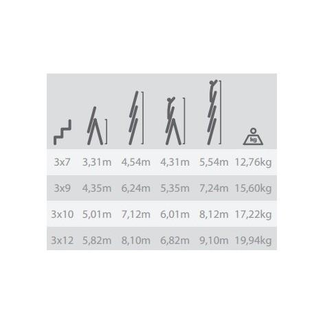 Escalera Industrial Combinada 3 Tramos 3X7 Peldaños 2.06/4.54M - NEOFERR - Pt1531