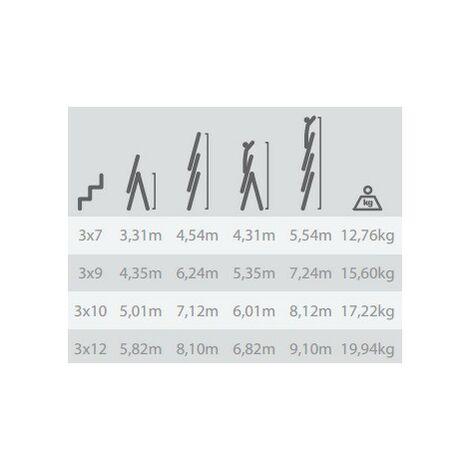 Escalera Industrial Combinada 3 Tramos 3X9 Peldaños 2.62/6.24M - NEOFERR - Pt1535..
