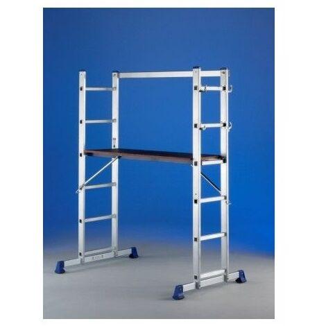 Escalera Industrial Con Andamio 5P 2 Tramos Aluminio Tecno Svelt
