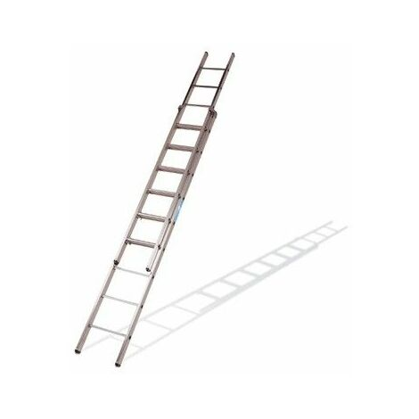 Escalera industrial de Aluminio apoyo doble extensión manual 2 x 12 peldaños con barra estabilizadora SERIE EXCALIBUR
