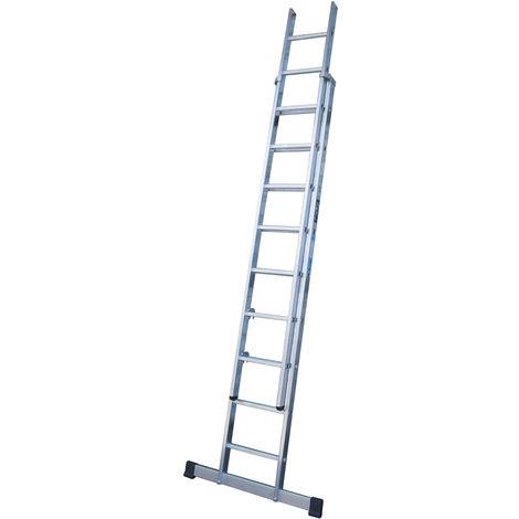 Escalera industrial de Aluminio apoyo doble extensión manual 2 x 9 peldaños con barra estabilizadora SERIE EXCALIBUR