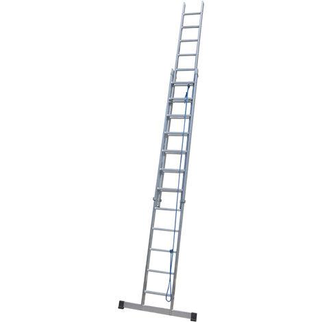 Escalera industrial de Aluminio apoyo doble extensión mecánica 2 x 12 peldaños con barra estabilizadora SERIE FACTORY