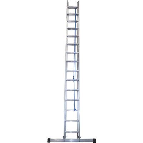 Escalera industrial de Aluminio apoyo doble extensión mecánica 2 x 15 peldaños con barra estabilizadora SERIE FACTORY