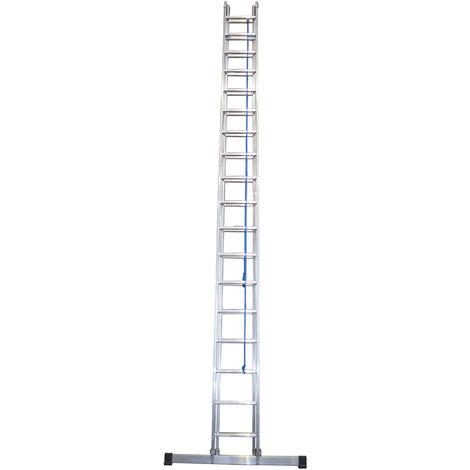 Escalera industrial de Aluminio apoyo doble extensión mecánica 2 x 18 peldaños con barra estabilizadora SERIE FACTORY
