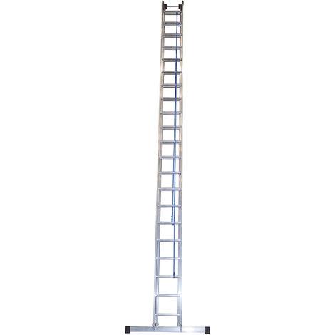 Escalera industrial de Aluminio apoyo doble extensión mecánica 2 x 21 peldaños con barra estabilizadora SERIE FACTORY
