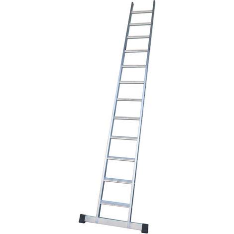 Escalera industrial de Aluminio apoyo fija 11 peldaños anchos con barra estabilizadora SERIE PEAK