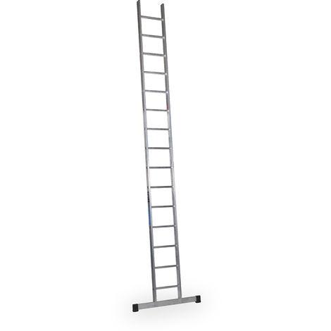 Escalera industrial de Aluminio apoyo fija 18 peldaños con barra estabilizadora SERIE SKY