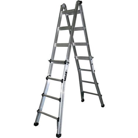 Escalera industrial de Aluminio telescópica apoyo-tijera doble acceso 3 + 3 peldaños con barra estabilizadora SERIE TELESCOPIC
