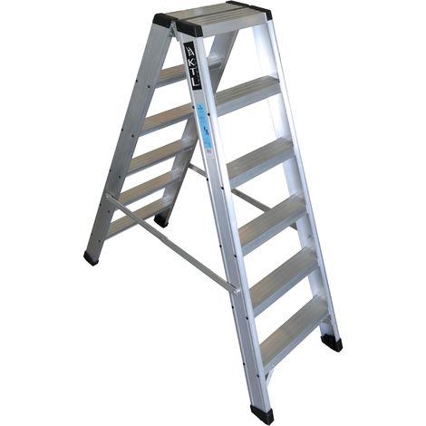 Escalera industrial de Aluminio tijera doble acceso 2 x 6 peldaños sin asa SERIE NEW COMFORT