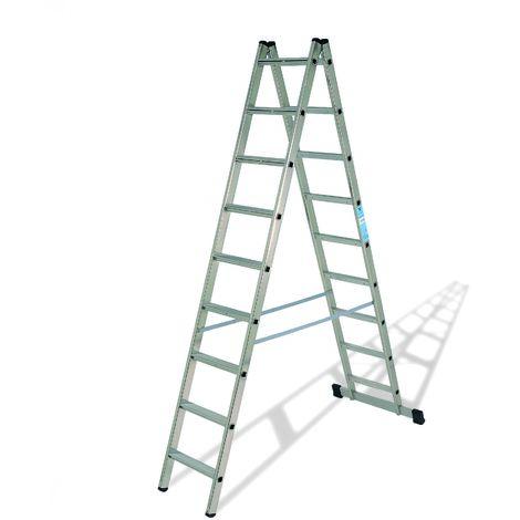 Escalera industrial de Aluminio tijera doble acceso con base 2 x 9 peldaños sin asa SERIE SCISSOR