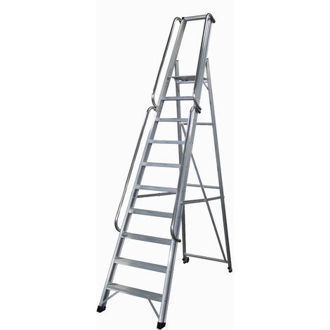 Escalera industrial de Aluminio tijera un acceso 10 peldaños SERIE XL-S