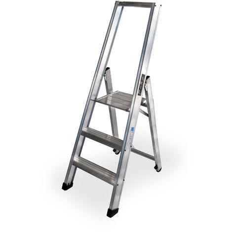 Escalera industrial de Aluminio tijera un acceso 3 peldaños SERIE XL