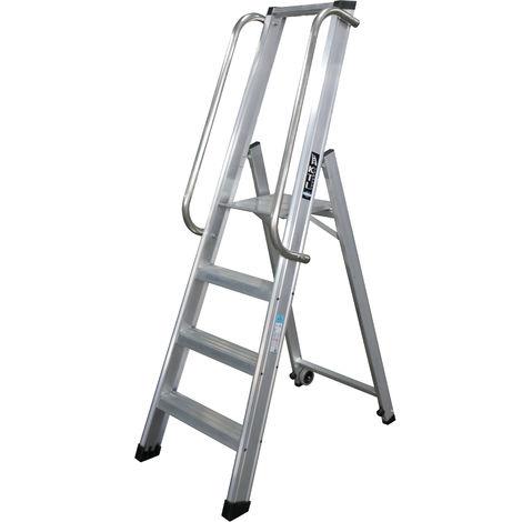Escalera industrial de Aluminio tijera un acceso 4 peldaños SERIE XL-S