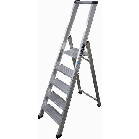Escalera industrial de Aluminio tijera un acceso 5 peldaños anchos SERIE XL-PLUS