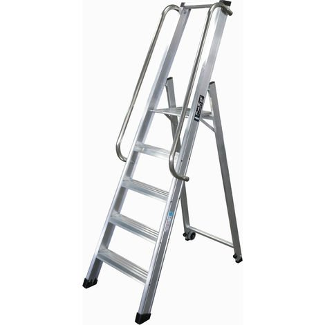 Escalera industrial de Aluminio tijera un acceso 5 peldaños SERIE XL-S