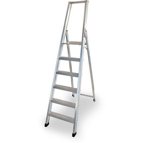 Escalera industrial de Aluminio tijera un acceso 6 peldaños SERIE XL