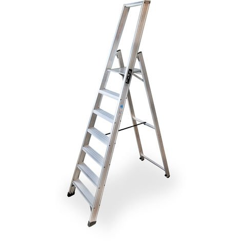 Escalera industrial de Aluminio tijera un acceso 7 peldaños SERIE XL