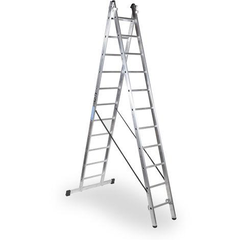 Escalera industrial de Aluminio tijera un acceso con base 2 x 11 peldaños SERIE STRONG