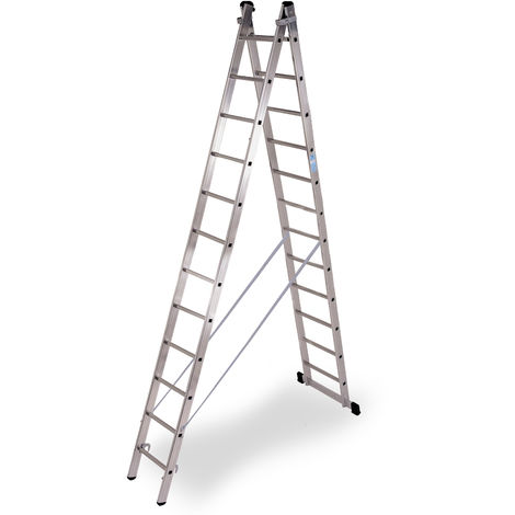 Escalera industrial de Aluminio tijera un acceso con base 2 x 12 peldaños SERIE STRONG